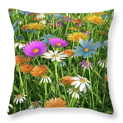 Grass Throw Pillow featuring the digital art Wildflower Meadow, Artwork by Leonello Calvetti