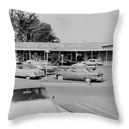 Photography Throw Pillow featuring the photograph Wildwood Manor Shopping Center Old by Fred Schutz Collection
