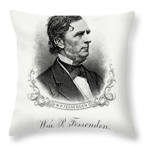 William P. Fessenden Throw Pillow featuring the painting William P. Fessenden by The Bureau of Engraving and Printing