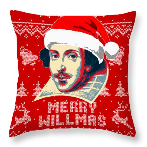 Santa Throw Pillow featuring the digital art William Shakespeare Merry Willmas by Filip Hellman