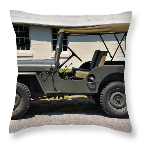 Willys Jeep For Sale >> Willys Jeep Usa With Canopy At Fort Miles Throw Pillow