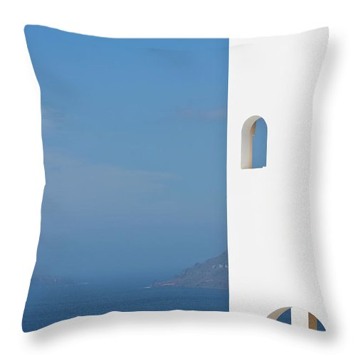Greece Throw Pillow featuring the photograph Windows To The Blue by Arturbo