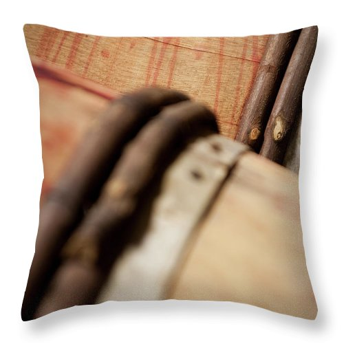 Fermenting Throw Pillow featuring the photograph Wine Barrels by Chrispecoraro