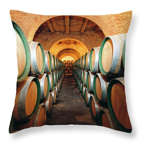 Working Throw Pillow featuring the photograph Wine Barrels In Cellar, Spain by Johner Images