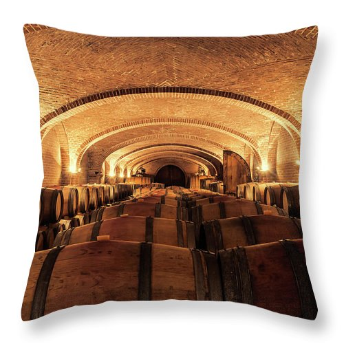 Arch Throw Pillow featuring the photograph Wine Cellar by Alexd75