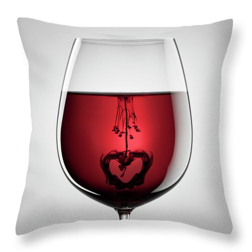 Mixing Throw Pillow featuring the photograph Wineglass, Red Wine, Black Ink And by Thomasvogel