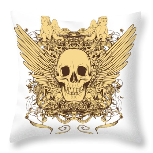 Halloween Throw Pillow featuring the digital art Winged Skull by Passion Loft