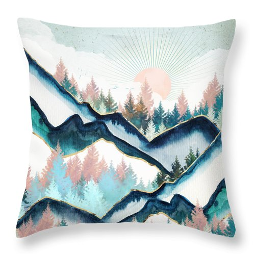 Digital Throw Pillow featuring the digital art Winter Forest by Spacefrog Designs