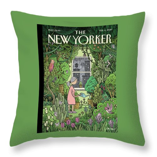 Winter Garden Throw Pillow featuring the painting Winter Garden by Tom Gauld