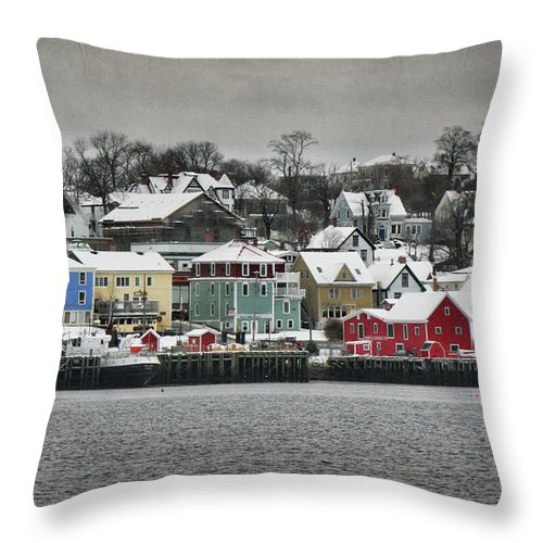 Snow Throw Pillow featuring the photograph Winter In Lunenburg by Amanda White