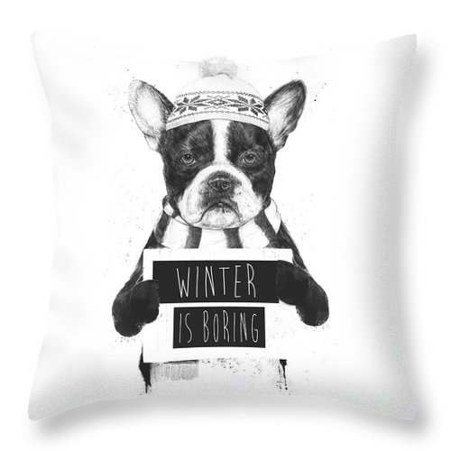 Bulldog Throw Pillow featuring the mixed media Winter Is Boring by Balazs Solti