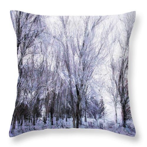 Winter Throw Pillow featuring the painting Winter Lace by Diane Chandler