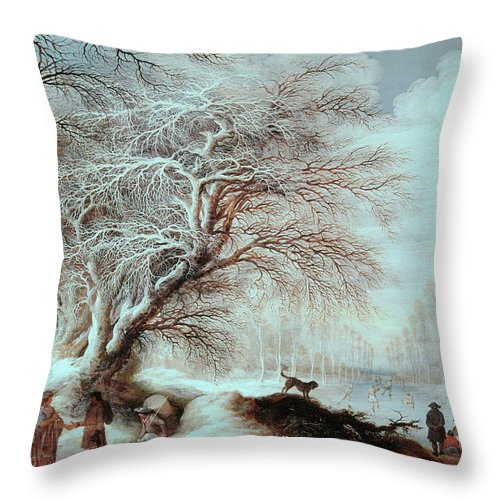 17th Century Throw Pillow featuring the painting Winter Landscape by Gysbrecht Lytens