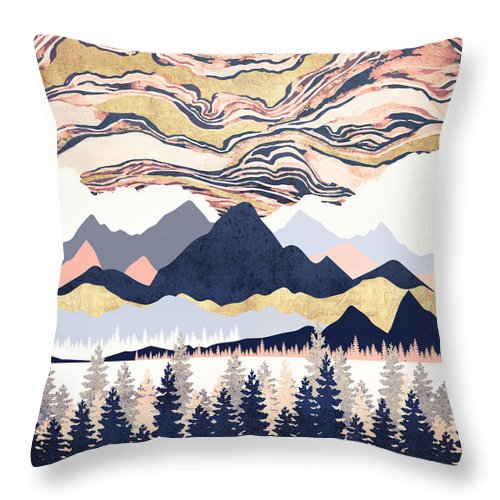 Winter Throw Pillow featuring the digital art Winter's Sky by Spacefrog Designs