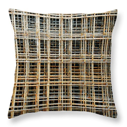 Abstract Throw Pillow featuring the photograph Wire Mesh Sheets by Tom Gowanlock