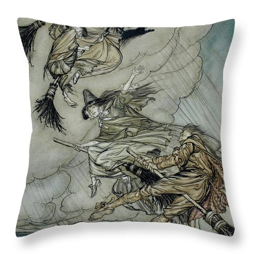 Arthur Rackham Throw Pillow featuring the painting Witches, 1907 by Arthur Rackham