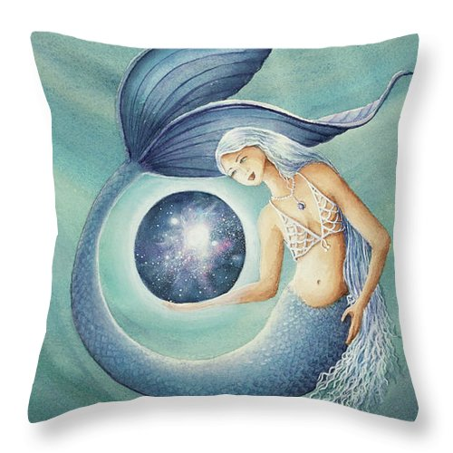 With Gratitude The Universe Is Hers Throw Pillow featuring the painting With Gratitude The Universe Is Hers by Michelle Constantine