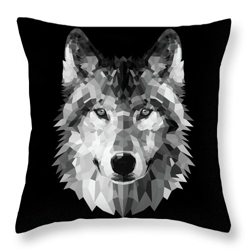 Wolf Throw Pillow featuring the digital art Wolf's Face by Naxart Studio