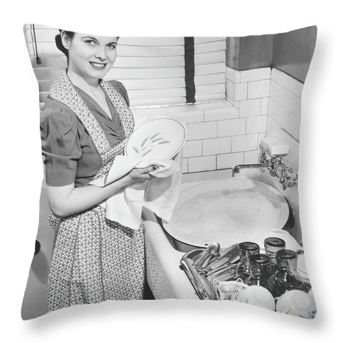 Three Quarter Length Throw Pillow featuring the photograph Woman Drying Dishes At Kitchen Sink by George Marks