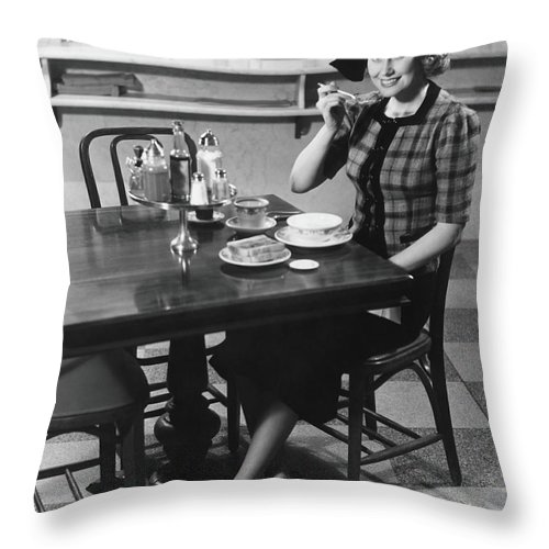Breakfast Throw Pillow featuring the photograph Woman In Fancy Hat Eating Breakfast In by George Marks