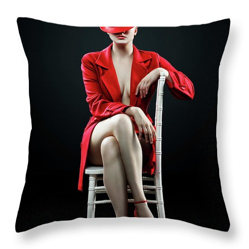 Woman Throw Pillow featuring the photograph Woman in red by Johan Swanepoel