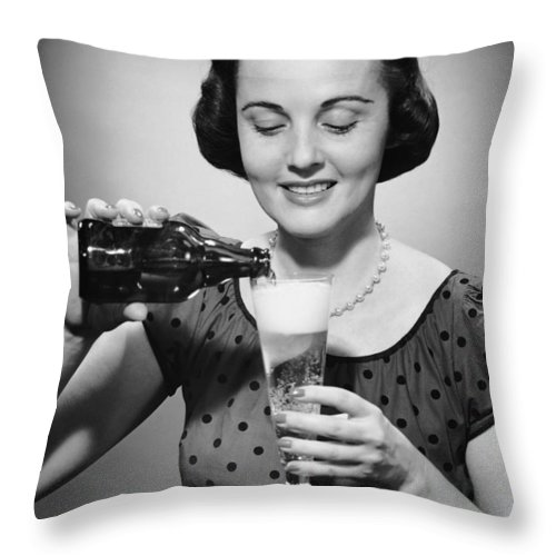 People Throw Pillow featuring the photograph Woman Pouring Alcoholic Beverage by George Marks