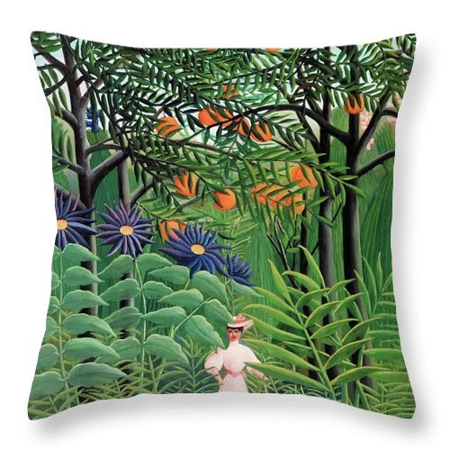 Henri Rousseau Throw Pillow featuring the painting Woman Walking In An Exotic Forest - Digital Remastered Edition by Henri Rousseau
