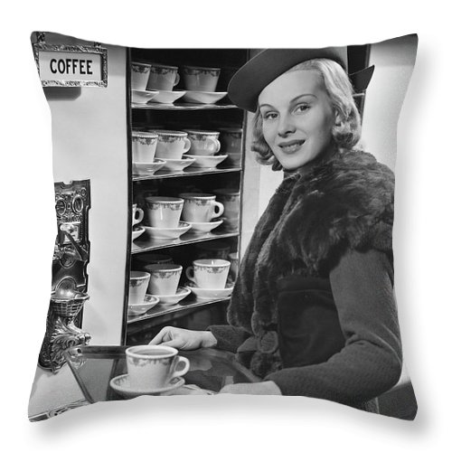 People Throw Pillow featuring the photograph Woman Wcoffee On Tray by George Marks