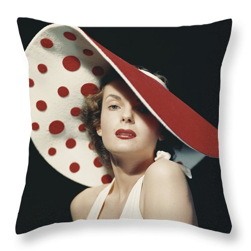 People Throw Pillow featuring the photograph Woman Wearing Large Spotted Hat by Tom Kelley Archive