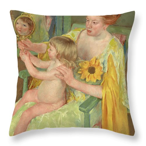 Mary Cassatt Throw Pillow featuring the painting Woman With A Sunflower by Mary Cassatt