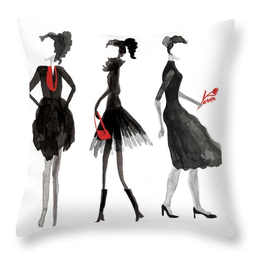 People Throw Pillow featuring the digital art Women Silhouettes by Catarina Bessell