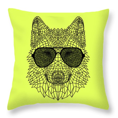 Wolf Throw Pillow featuring the digital art Woolf In Black Glasses by Naxart Studio