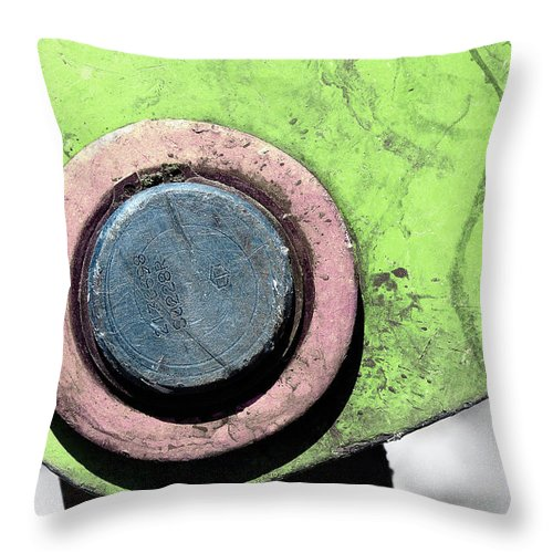 Metal Throw Pillow featuring the photograph Worksite Neon by Joseph Oland