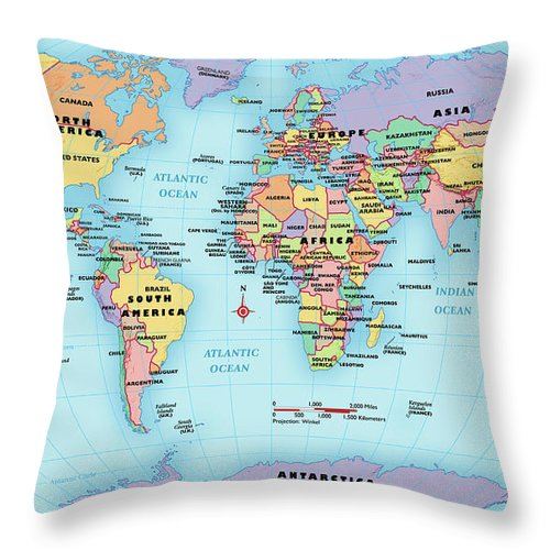 Horizontal Throw Pillow featuring the digital art World Map, Continent And Country Labels by Globe Turner, Llc