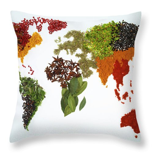 Large Group Of Objects Throw Pillow featuring the photograph World Map With Spices And Herbs by Yamada Taro