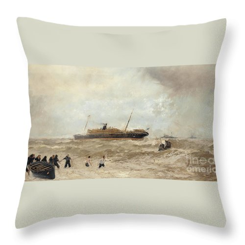 Sea Throw Pillow featuring the painting Wreck Of The Delhi Off Cape Spartel, 13th January 1911, Landing Of The Princess Royal, 1912 by Algernon Yockney