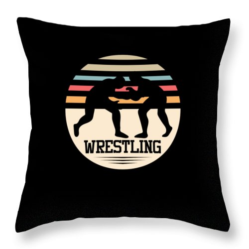 Gift-idea Throw Pillow featuring the digital art Wrestling Art by Tom Giant