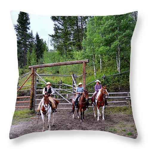 Cowgirls Throw Pillow featuring the photograph Wyoming Cowgirl Trio by Catherine Sherman