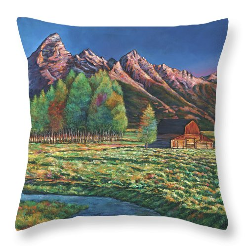 Landscape Art Throw Pillow featuring the painting Wyoming by Johnathan Harris