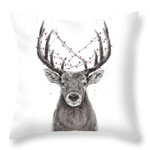 Deer Throw Pillow featuring the drawing Xmas Deer by Balazs Solti