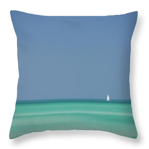 Sailboat Throw Pillow featuring the photograph Yacht In Gulf Of Mexico, Florida, Usa by Tim Graham
