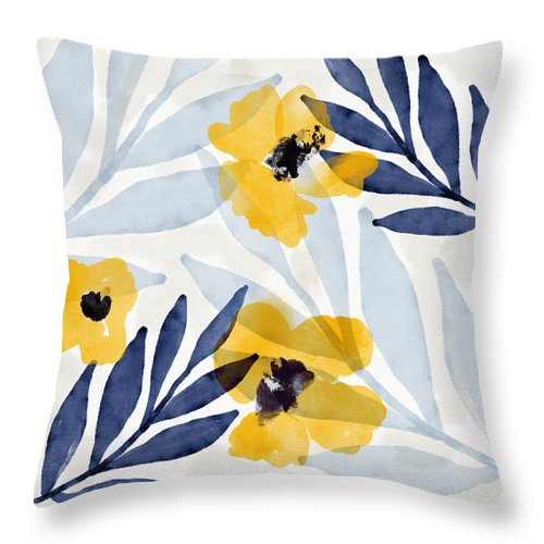 Flowers Throw Pillow featuring the mixed media Yellow And Navy 2- Floral Art By Linda Woods by Linda Woods