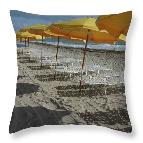 Shadow Throw Pillow featuring the photograph Yellow Umbrellas In South Beach by Theresemck