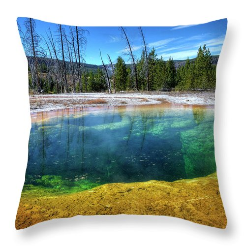 Morning Glory Pool Throw Pillow featuring the photograph Yellowstone Hot Spring by Dbushue Photography