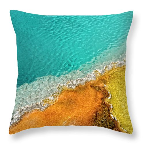 Geology Throw Pillow featuring the photograph Yellowstone West Thumb Thermal Pool by Bill Wight Ca