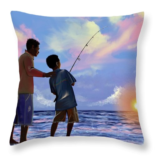 Fishing Throw Pillow featuring the digital art You make Him proud by Artist RiA