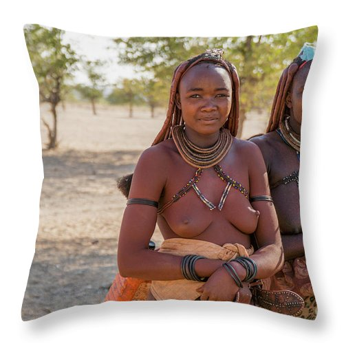 Africa Throw Pillow featuring the photograph Young Himba Woman Wearing Headgear And Decorations B14 by Eyal Bartov