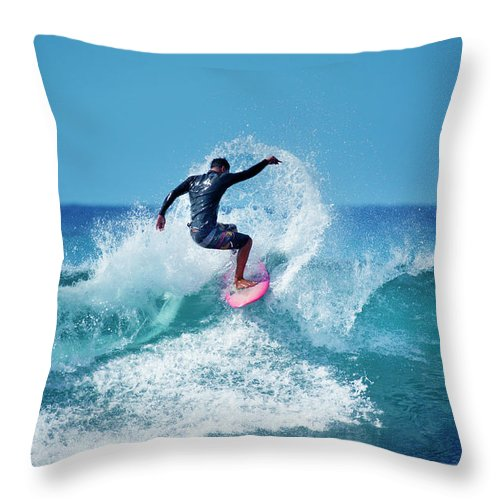Young Men Throw Pillow featuring the photograph Young Male Surfer Surfing In The Water by Yinyang