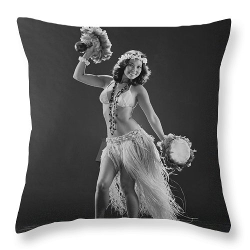 People Throw Pillow featuring the photograph Young Woman Hula Dancer With Feathered by Tom Kelley Archive