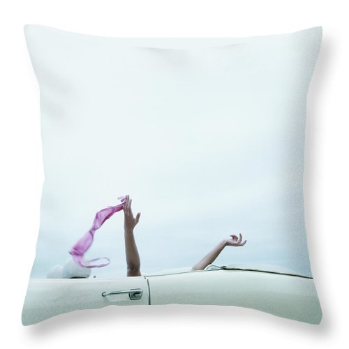 Young Men Throw Pillow featuring the photograph Young Woman In Convertible Car, Arms by Jerome Tisne